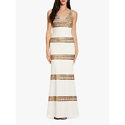 Adrianna Papell Beaded Long Dress, Ivory/Gold