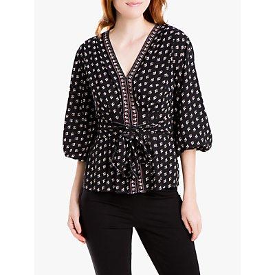Max Studio 3/4 Sleeve Floral Print Tie Belt Blouse, Black/Multi