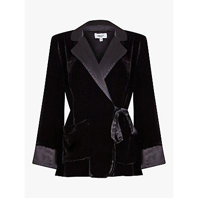Ghost Alexis Silk Velvet Tie Waist Blazer, Black