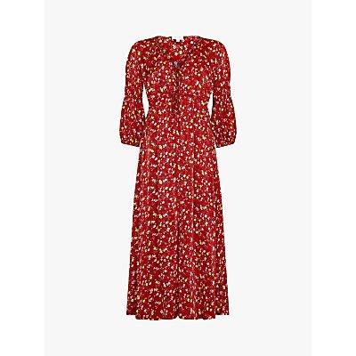 Ghost Clara Floral Tie Detail Midi Dress, Susie Spray Red