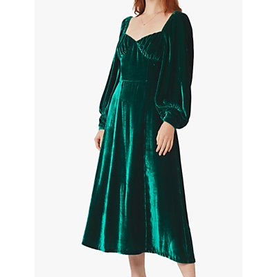 Ghost Averie Velvet Midi Dress, Paradise Green