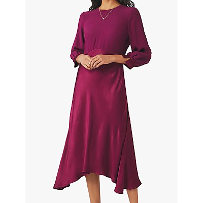 Ghost Rae Satin Dress, Ruby