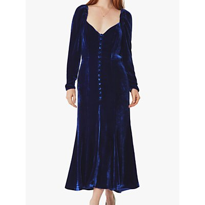Ghost Sydney Silk Velvet Dress, Cobalt Blue