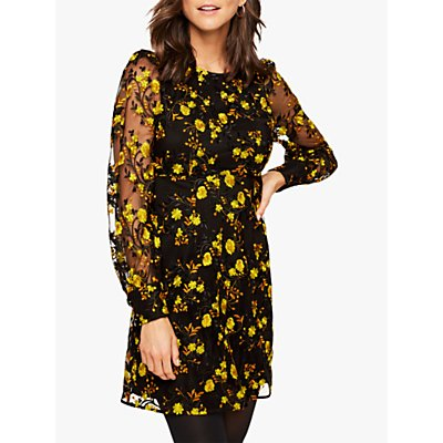 Damsel in a Dress Lovell Embroidered Floral Dress, Black/Yellow