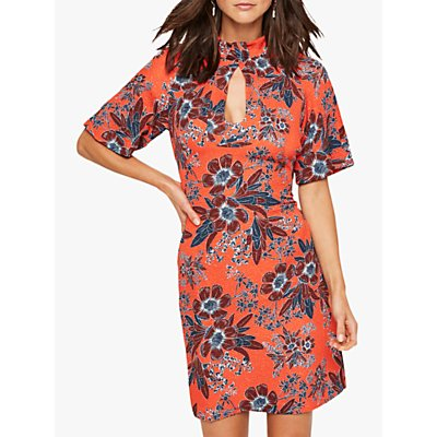 Damsel in a Dress Caryl Floral Hatlerneck Dress, Orange/Multi