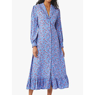 Ghost Anouk Floral Satin Midi Dress, Soft Blue/Multi