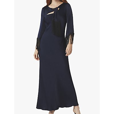 Ghost Angel Satin Tassel Maxi Dress, Navy