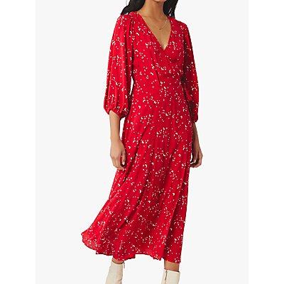 Ghost Aueline Moon and Star Crepe Wrap Midi Dress, Mara