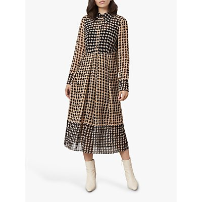Finery Norah Brushed Houndstooth Midi Shirt Dress, Black/Yellow
