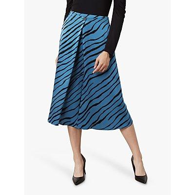 Finery Archie Tiger Print Skirt, Petrol
