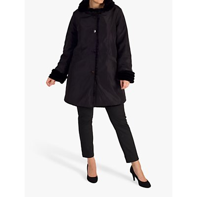 chesca Faux Fur Lined Reversible Coat, Black