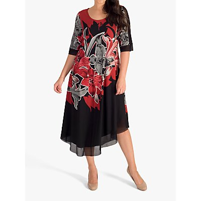 chesca Garland Floral Placement Mesh Trim Jersey Dress, Ruby/Black