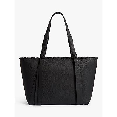 AllSaints Kepi Small East West Leather Tote Bag, Black