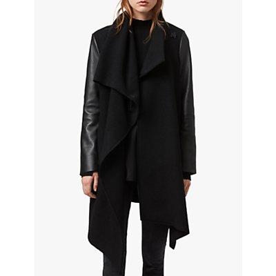 AllSaints Monument Lea Leather Sleeves Coat, Black