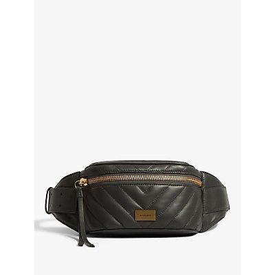 AllSaints Justine Leather Bum Bag, Graphite Grey