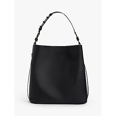 AllSaints Nina North South Stud Leather Tote Bag, Black