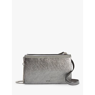 AllSaints Miki Lea Chain Leather Wallet Crossbody Bag, Gunsmoke Grey