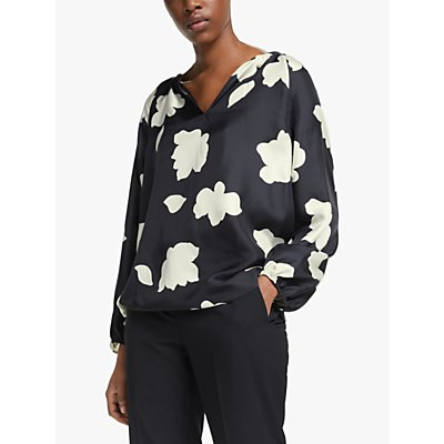 Theory Gathered Cuff Open V Neck Abstract Floral Print Silk Blouse