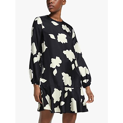 Theory Flared Floral Print Silk Dress, Black/Multi