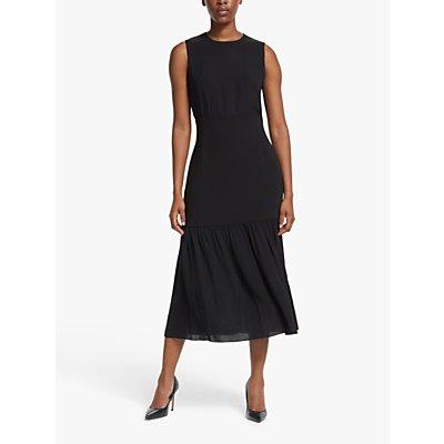 Theory Blouson Silk Midi Dress, Black