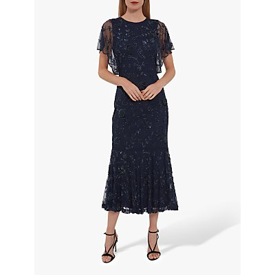 Gina Bacconi Mellie Beaded Midi Dress, Navy