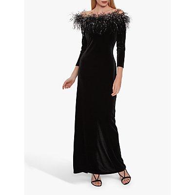 Gina Bacconi Laina Velvet Bardot Maxi Dress, Black