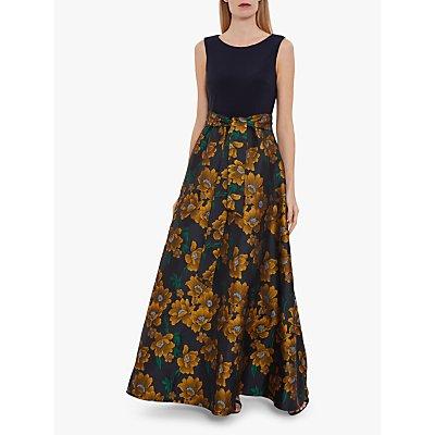 Gina Bacconi Saira Floral Jacquard Dress, Navy/Gold
