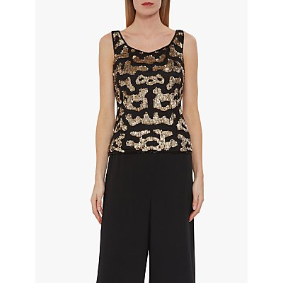 Gina Bacconi eviris Beaded Sleeveless Top. Black/Gold