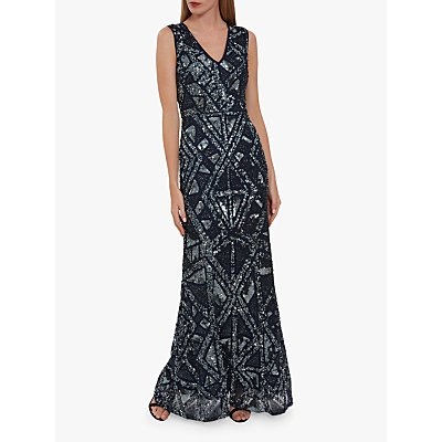 Gina Bacconi Keirsta Sequin Embroidery Maxi Dress, Navy