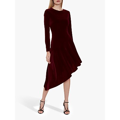 Gina Bacconi Olive Velvet Asymmetric Dress