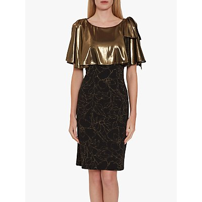 Gina Bacconi Catina Metallic Fitted Dress, Black/Gold