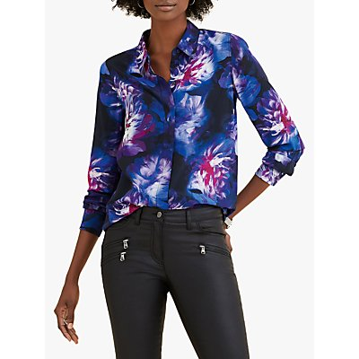 Pure Collection Washed Silk Relaxed Blouse, Blue Digital Floral