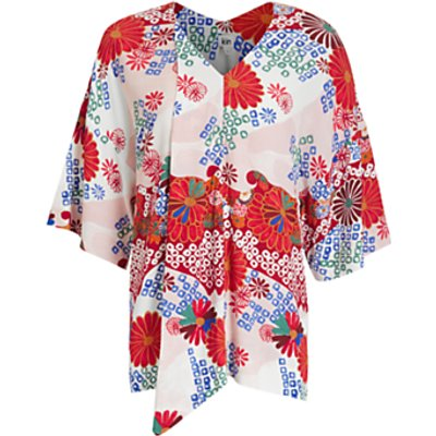 Kin Rie Takeda Count Your Happiness Shirred Waist Kaftan Top, Red/Multi