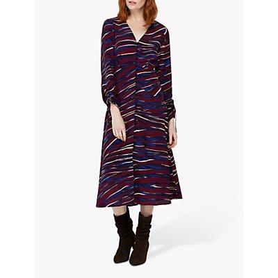 Monsoon Lexi Printed Midi Dress, Burgundy