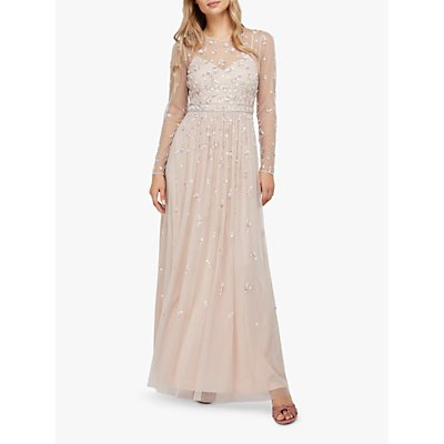 Monsoon Selina Sequin Floral Maxi Dress, Pink