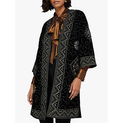 Monsoon Varena Embroidered Velvet Longline Jacket, Black