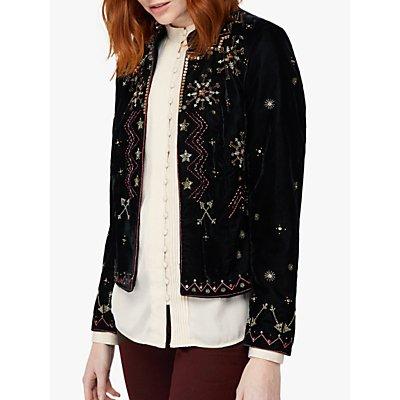 Monsoon Ember Embroidered Velvet Jacket, Black