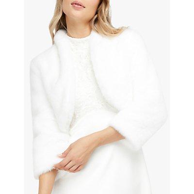 Monsoon Maria Faux Fur Crop Jacket, Ivory