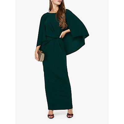 Monsoon Cara Cape Maxi Dress, Dark Green