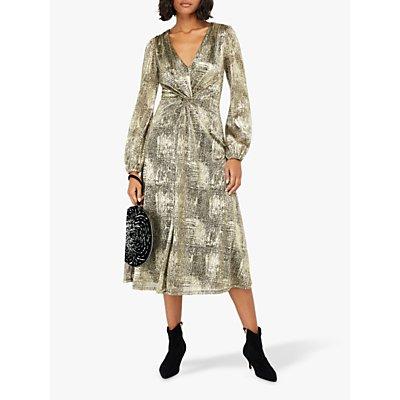 Monsoon Vanessa Twist Midi Dress, Gold