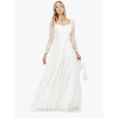 Monsoon Cecily Bridal Bardot Lace Maxi Dress, Ivory