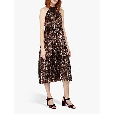 Monsoon Scarlett Sequin Halterneck Midi Dress, Bronze