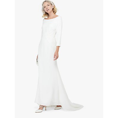 Monsoon Una Bridal Bardot Crepe Lace Maxi Dress, Ivory