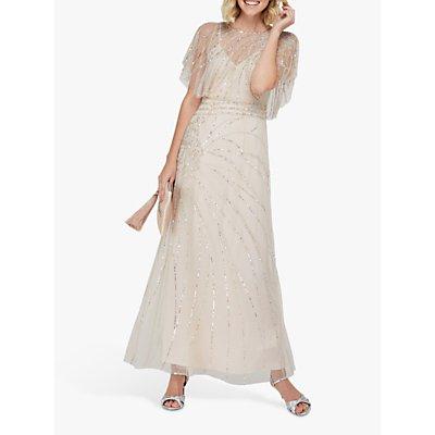 Monsoon Florence Embellished Flutter Sleeve Maxi Dress