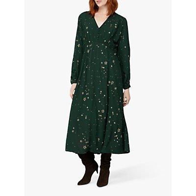 Monsoon Ellie Star Embellished Midi Dress, Green