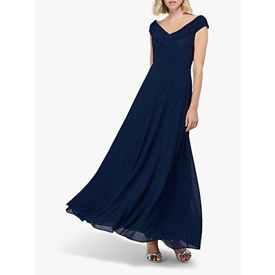 Monsoon Bethany Bardot Pleat Lace Maxi Dress, Navy