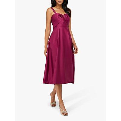 Monsoon Savannah Twist Neck Satin Midi Dress, Rose