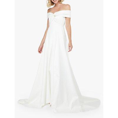 Monsoon Hannah Bardot Satin Bridal Dress, Ivory