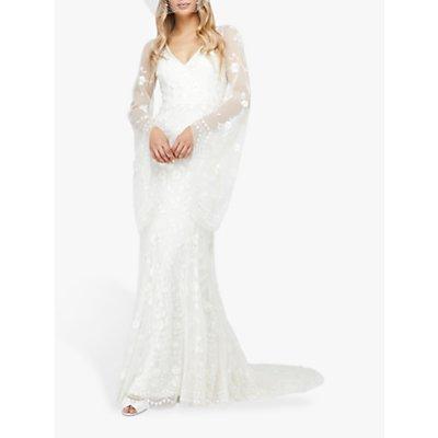 Monsoon Evelina Floral Lace Bridal Dress, Ivory