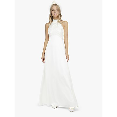 Monsoon Flora Bridal Embellished Lace Halter Maxi Dress, Ivory
